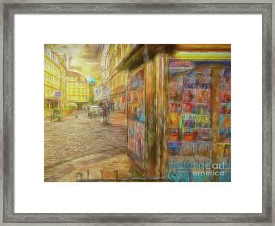 Kiosk - Prague Street Scene Framed Print
