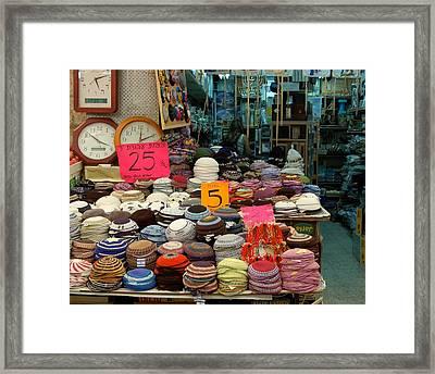 Kippot For Sale Framed Print by Susan Heller