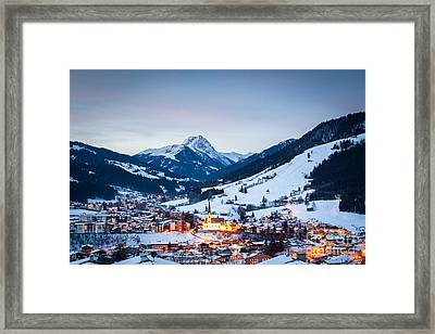 Kirchberg Austria In The Evening Framed Print by John Wadleigh