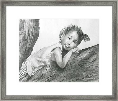 Kirikou, Dreaming -- Portrait Of Little African-american Girl Framed Print