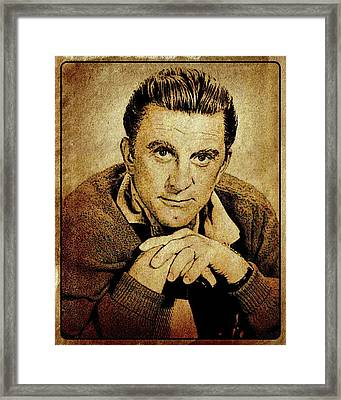Kirk Douglas Hollywood Actor Framed Print by Esoterica Art Agency