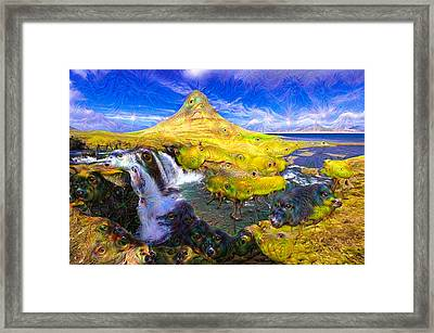 Kirkjufell Waterfall Iceland Surreal Deep Dream Picture Framed Print