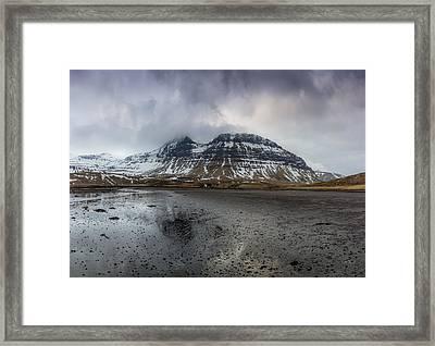 kirkjufellsfoss From Black Beach Framed Print