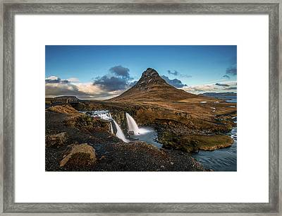 Framed Print featuring the photograph Kirkjufellsfoss Waterfall And Kirkjufell Mountain, Iceland by Pradeep Raja Prints