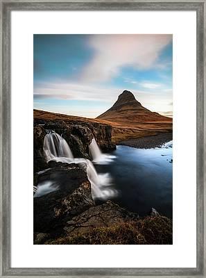 Kirkjufellsfoss Waterfalls Iceland Framed Print