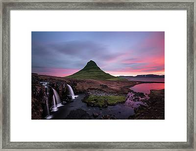 Kirkjufellsfoss Waterfalls Iceland Portrait Version Framed Print by Larry Marshall