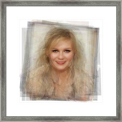 Kirsten Dunst Portrait Framed Print by Steve Socha