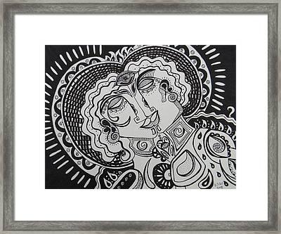 Kiss Framed Print by Dawn Siler