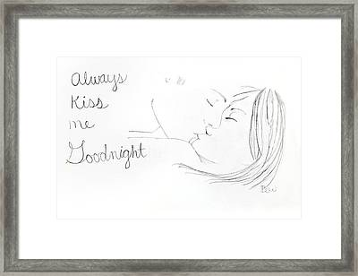 Framed Print featuring the drawing Kiss Me Goodnight by Rebecca Wood