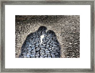 Kiss Me On The Cobblestone Framed Print