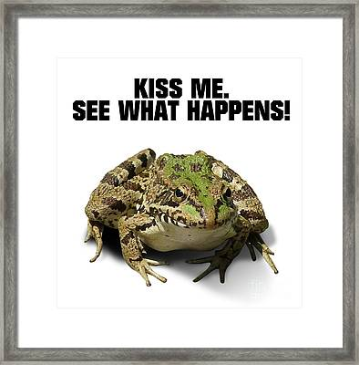 Kiss Me. See What Happens Framed Print by Esoterica Art Agency