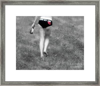 Kiss My Ass  Framed Print by Steven Digman