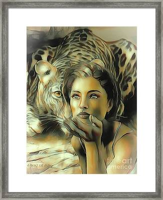 Kiss Of The Leopard Woman Framed Print