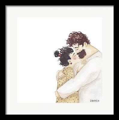 Lovers Drawings Framed Prints