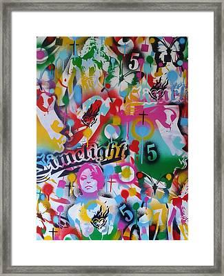 Kiss The Rainbow Framed Print by Leon Keay