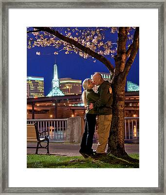 Kiss Under The Cherry Tree - Vertical Framed Print