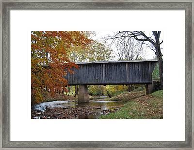 Kissing Bridge At Fall Framed Print by Eric Liller