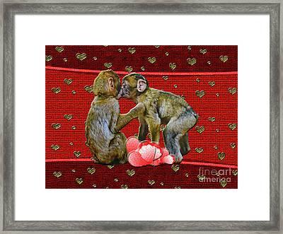 Kissing Chimpanzees Hearts Framed Print