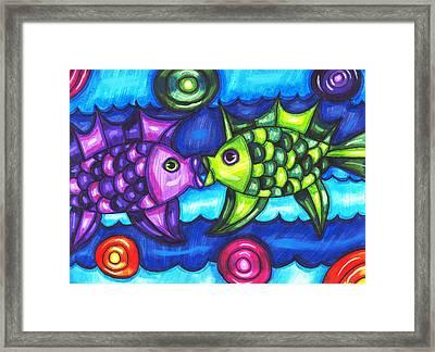 Kissing Fish Framed Print