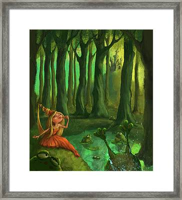 Kissing Frogs Framed Print