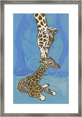 Kissing - Giraffe Stylised Pop Art Poster Framed Print by Kim Wang