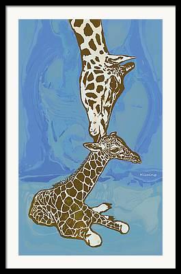 Giraffe Abstract Framed Prints
