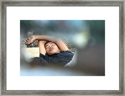 Kissing My Love In My Dreams Framed Print by Jez C Self