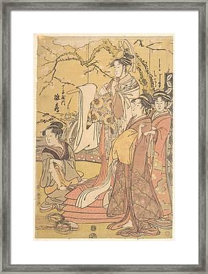Kitagawa Utamaro    The Oiran Hinazuru Of Chojiya Standing Upon A Pile Of Futon Framed Print