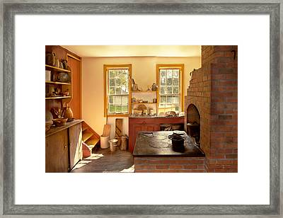 Kitchen - An 1840's Kitchen Framed Print by Mike Savad
