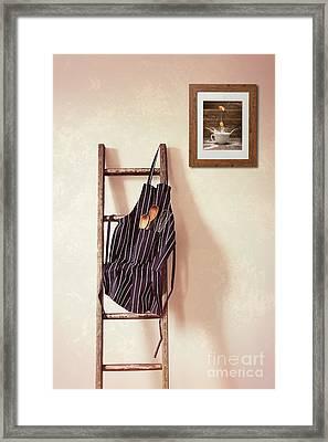 Kitchen Apron Hanging On Ladder Framed Print