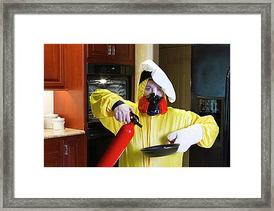 Kitchen Disaster With Hazmat And Fire Extinguisher Framed Print