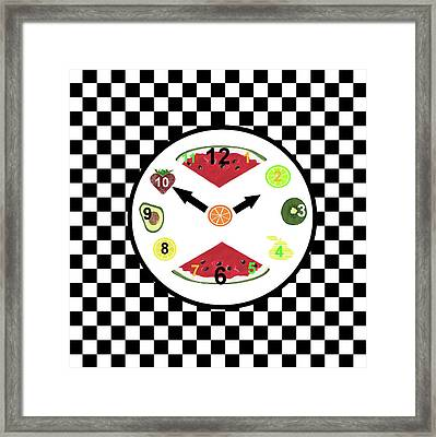 Kitchen Food Clock Framed Print by Kathleen Sartoris