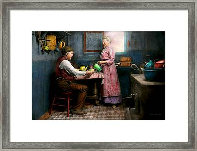 Kitchen - Morning Coffee 1915 Framed Print