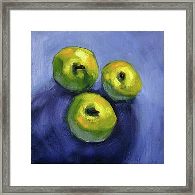 Framed Print featuring the painting Kitchen Pears Still Life by Nancy Merkle