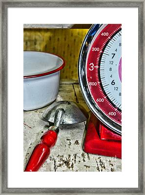 Kitchen - Red Food Scale Framed Print by Paul Ward