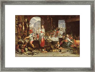 Kitchen Scene With The Parable Of The Feast Framed Print by Joachim Wtewael