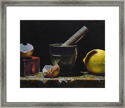 Kitchen Still Life With Red Box Framed Print by Jeffrey Hayes