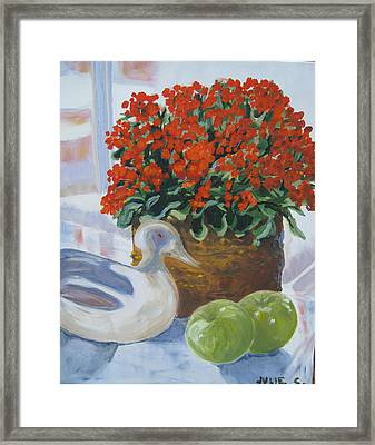 Framed Print featuring the painting Kitchen Table by Julie Todd-Cundiff