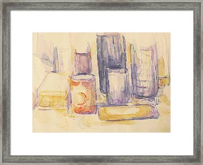 Kitchen Table  Pots And Bottles Framed Print by Paul Cezanne