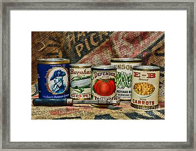 Kitchen - Vintage Food Cans Framed Print by Paul Ward