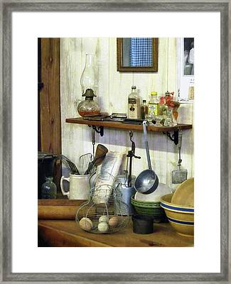 Kitchen With Wire Basket Of Eggs Framed Print by Susan Savad