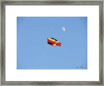 Kite And Moon Framed Print by Judy  Waller