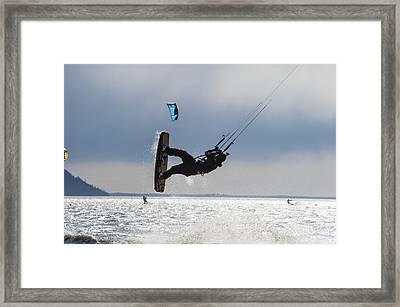 Kite Boarders On Turnagain Arm Framed Print by Daryl Pederson