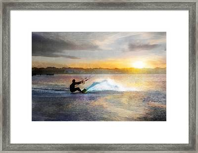 Kite Boarding At Sunset Framed Print by Francesa Miller