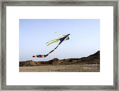 Kite Dancing In Desert 03 Framed Print