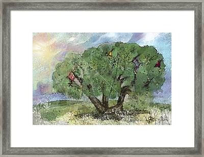 Framed Print featuring the painting Kite Eating Tree by Annette Berglund