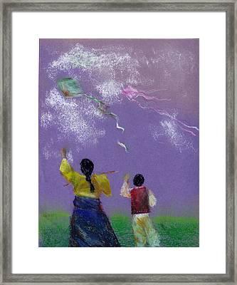 Kite Flying Framed Print by Mui-Joo Wee
