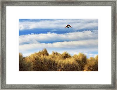 Framed Print featuring the photograph Kite Over The Hill by James Eddy