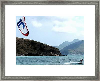Kite Surfer St Kitts Framed Print by Ian  MacDonald