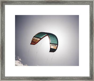 Kiteboard Sail Eclipsing The Sun On Pompano Beach Florida Framed Print by Toby McGuire